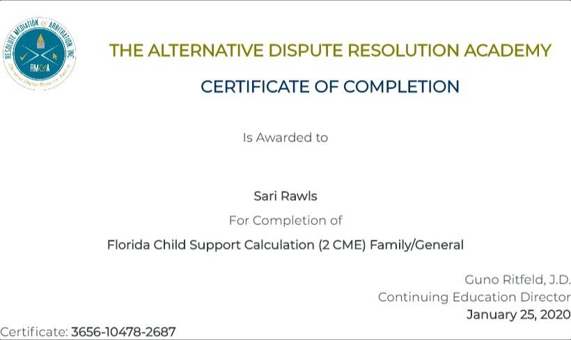 Certificate for User Sari Rawls