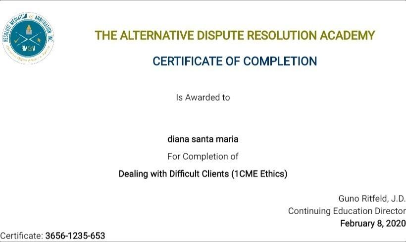 Certificate for User diana santa maria
