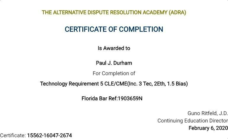 Certificate for User Paul J. Durham