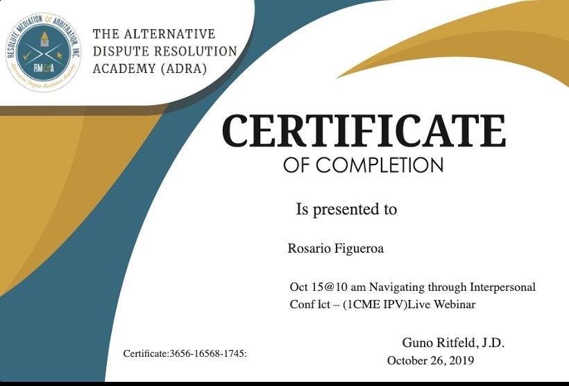 Certificate for User Rosario Figueroa