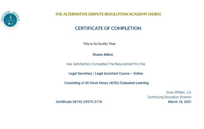 Certificate for User Shawn Atkins