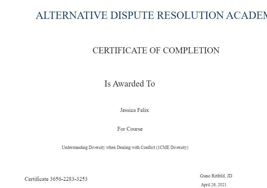 Certificate for User Jessica Felix