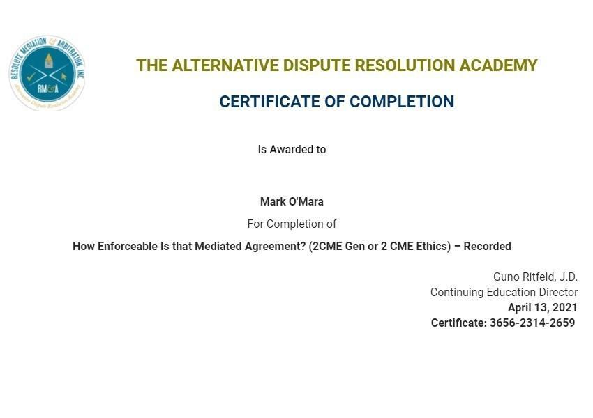 Certificate for User Mark O'Mara