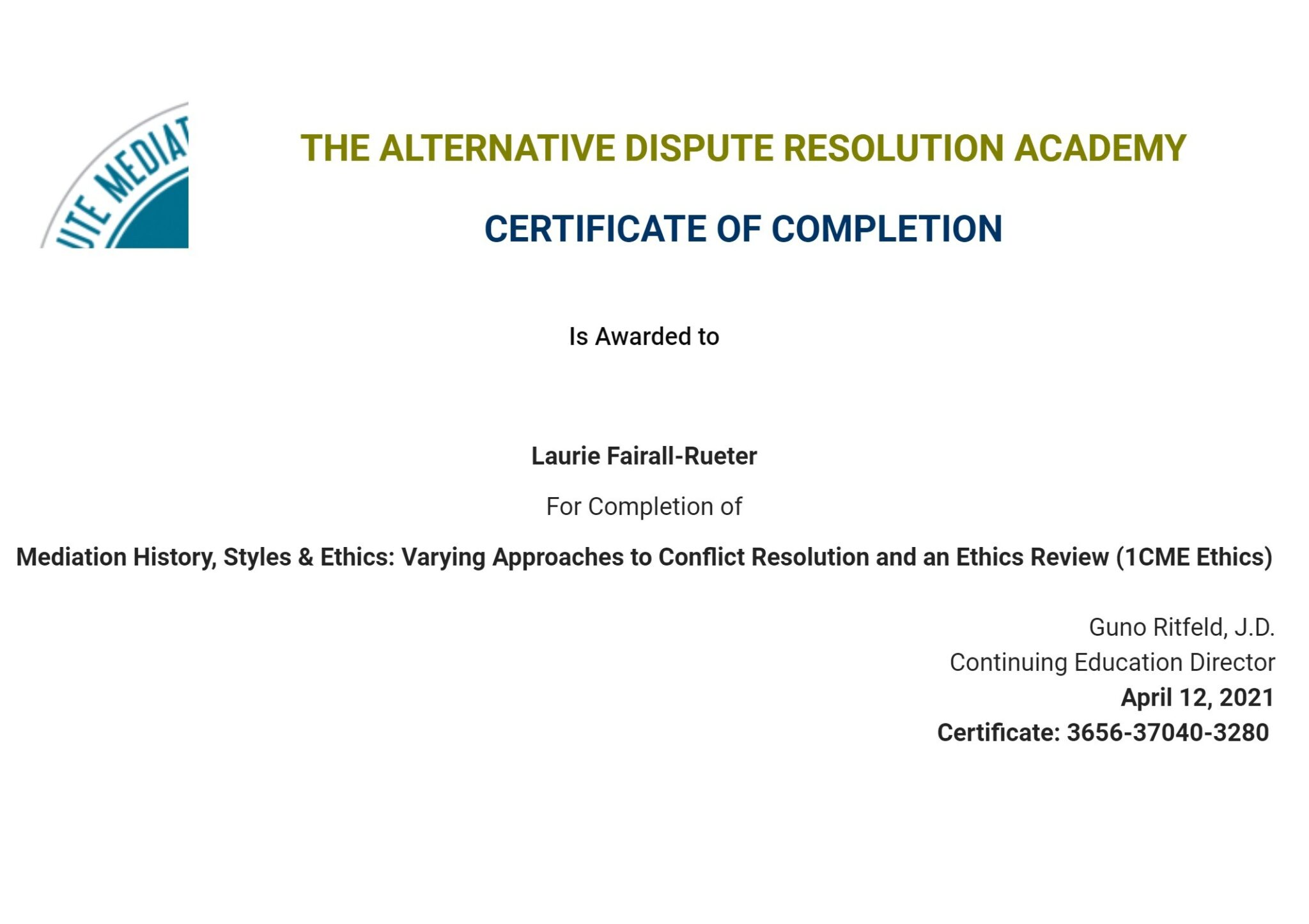 Certificate for User Laurie Fairall-Rueter