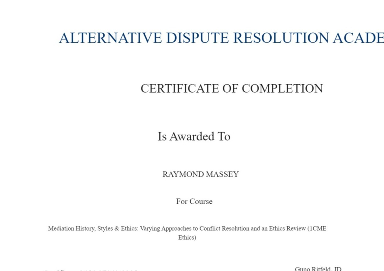 Certificate for User RAYMOND MASSEY