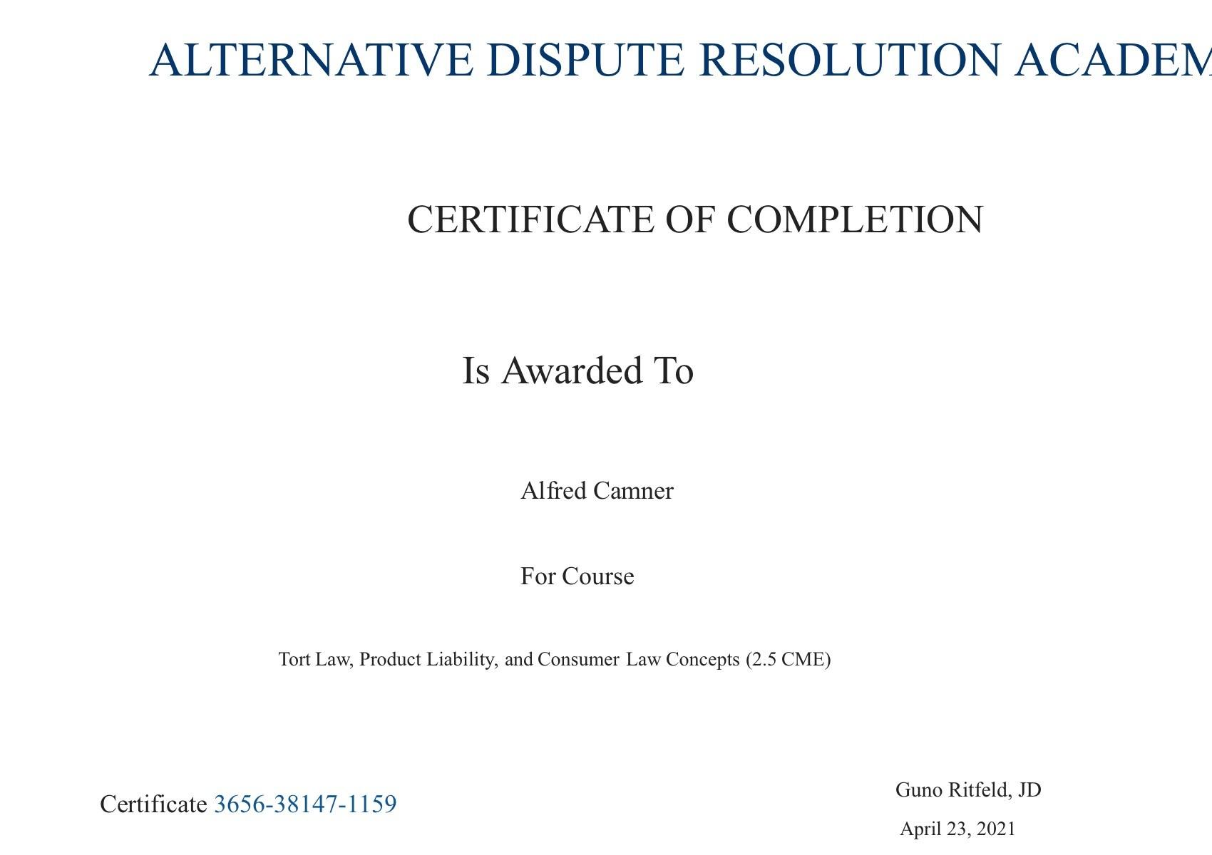 Certificate for User Alfred Camner