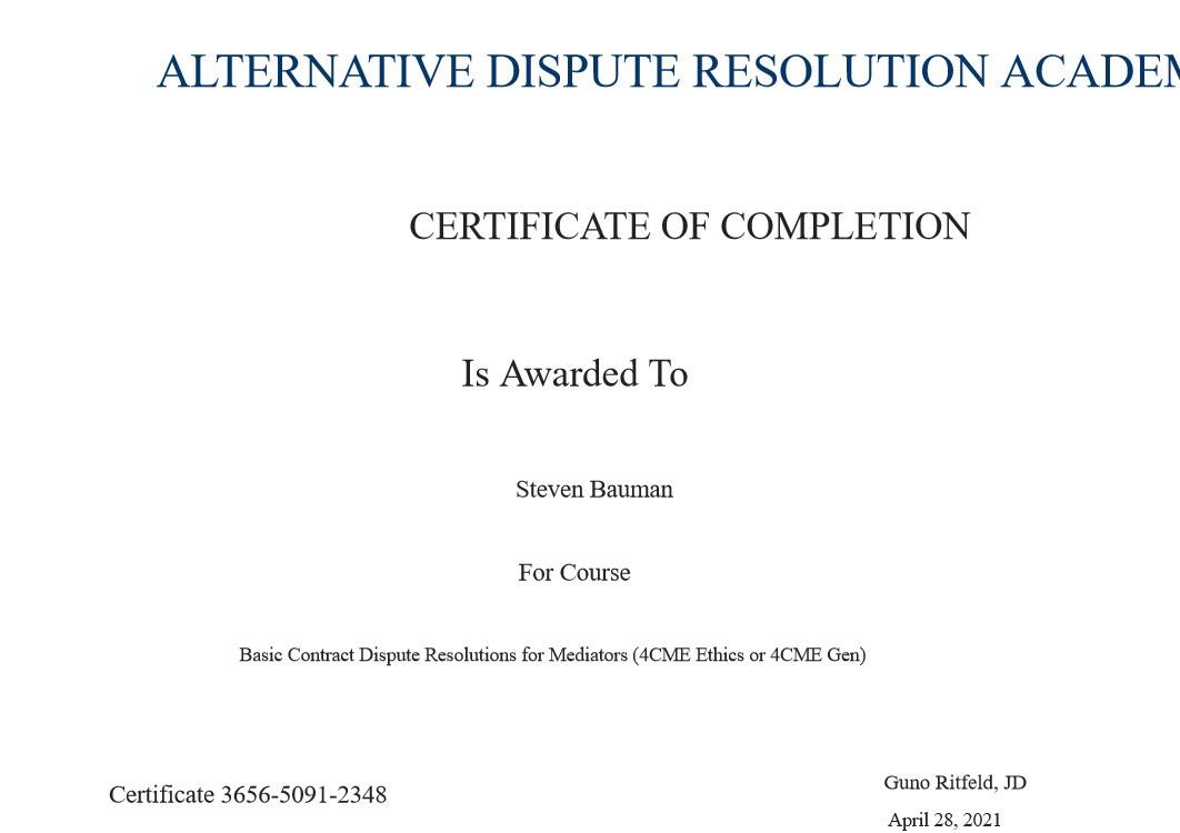 Certificate for User Steven Bauman