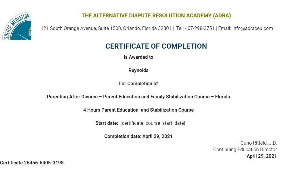 Certificate for User Reynolds