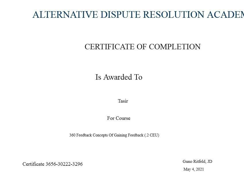 Certificate for User Tasir