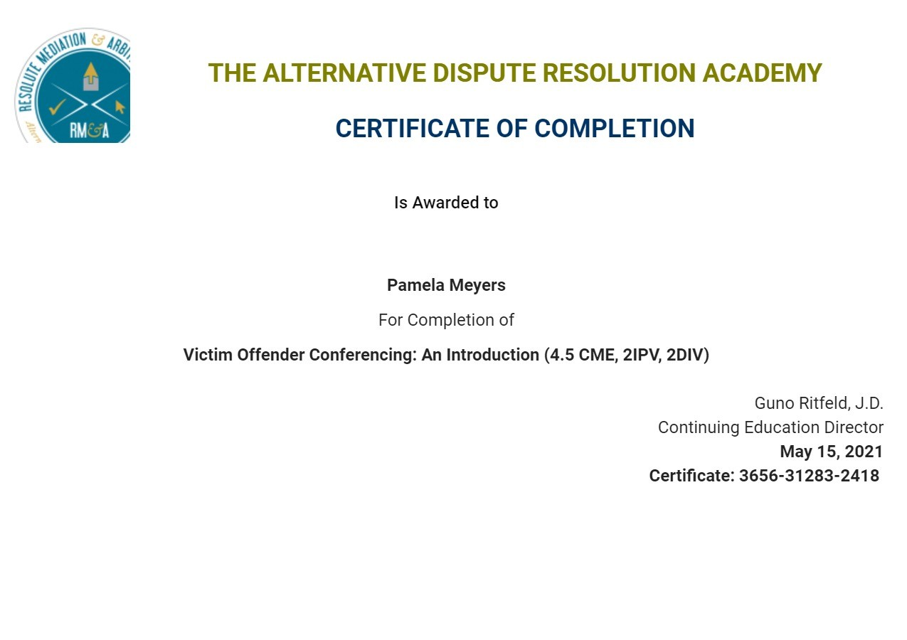 Certificate for User Pamela Meyers