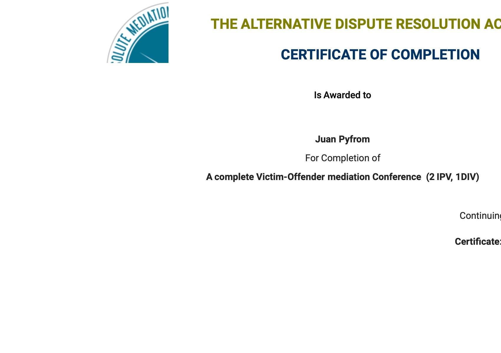Certificate for User Juan Pyfrom