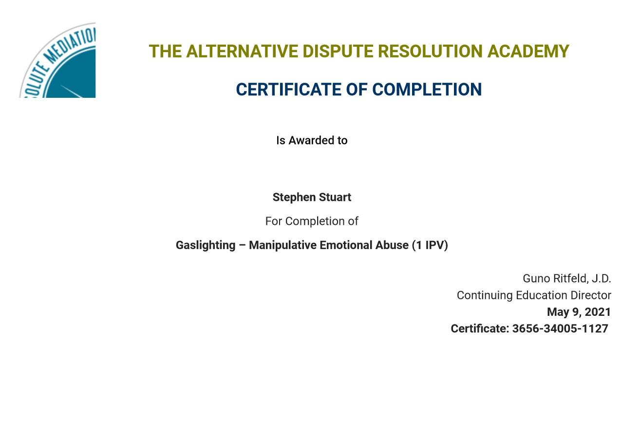 Certificate for User Stephen Stuart
