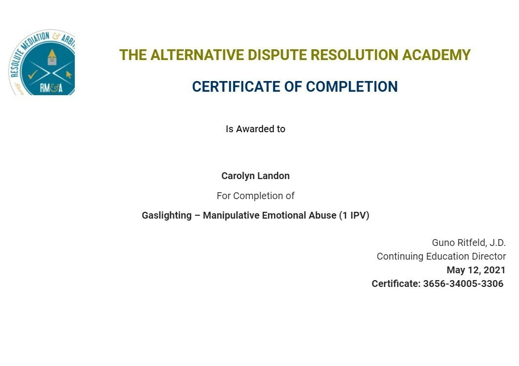 Certificate for User Carolyn Landon