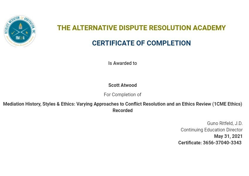Certificate for User Scott Atwood