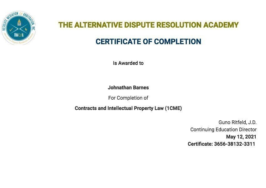 Certificate for User Johnathan Barnes