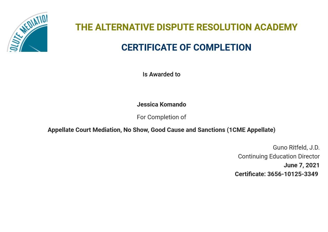 Certificate for User Jessica Komando