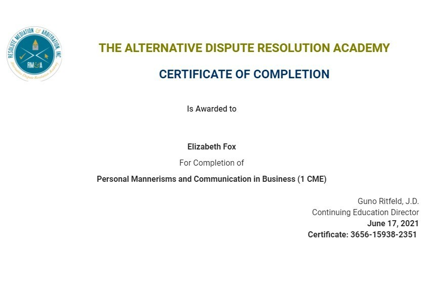 Certificate for User Elizabeth Fox
