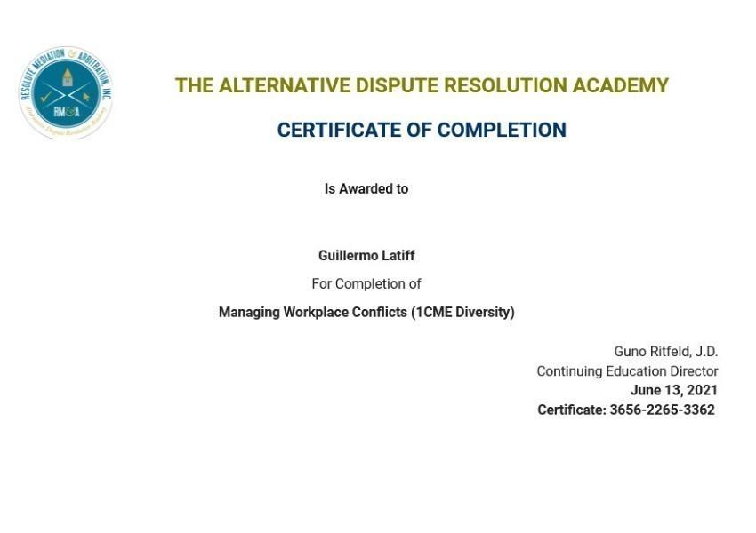 Certificate for User Guillermo Latiff
