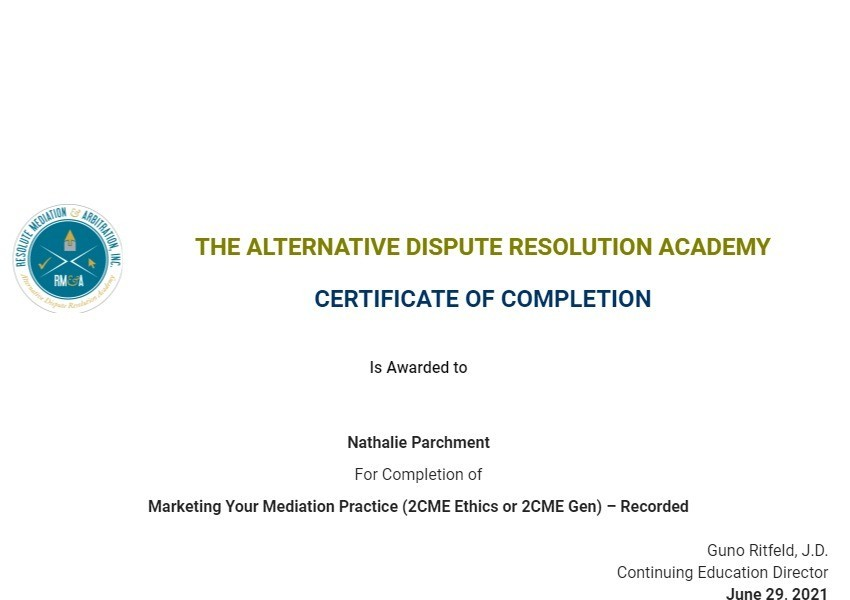 Certificate for User Nathalie Parchment