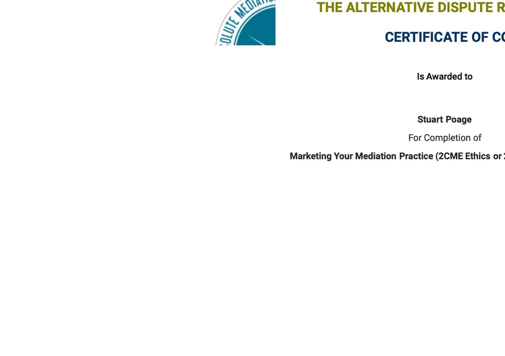 Certificate for User Stuart Poage