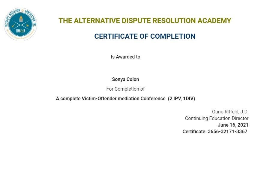 Certificate for User Sonya Colon