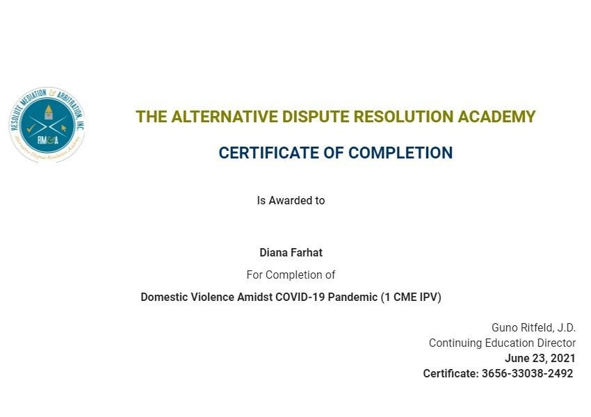 Certificate for User Diana Farhat