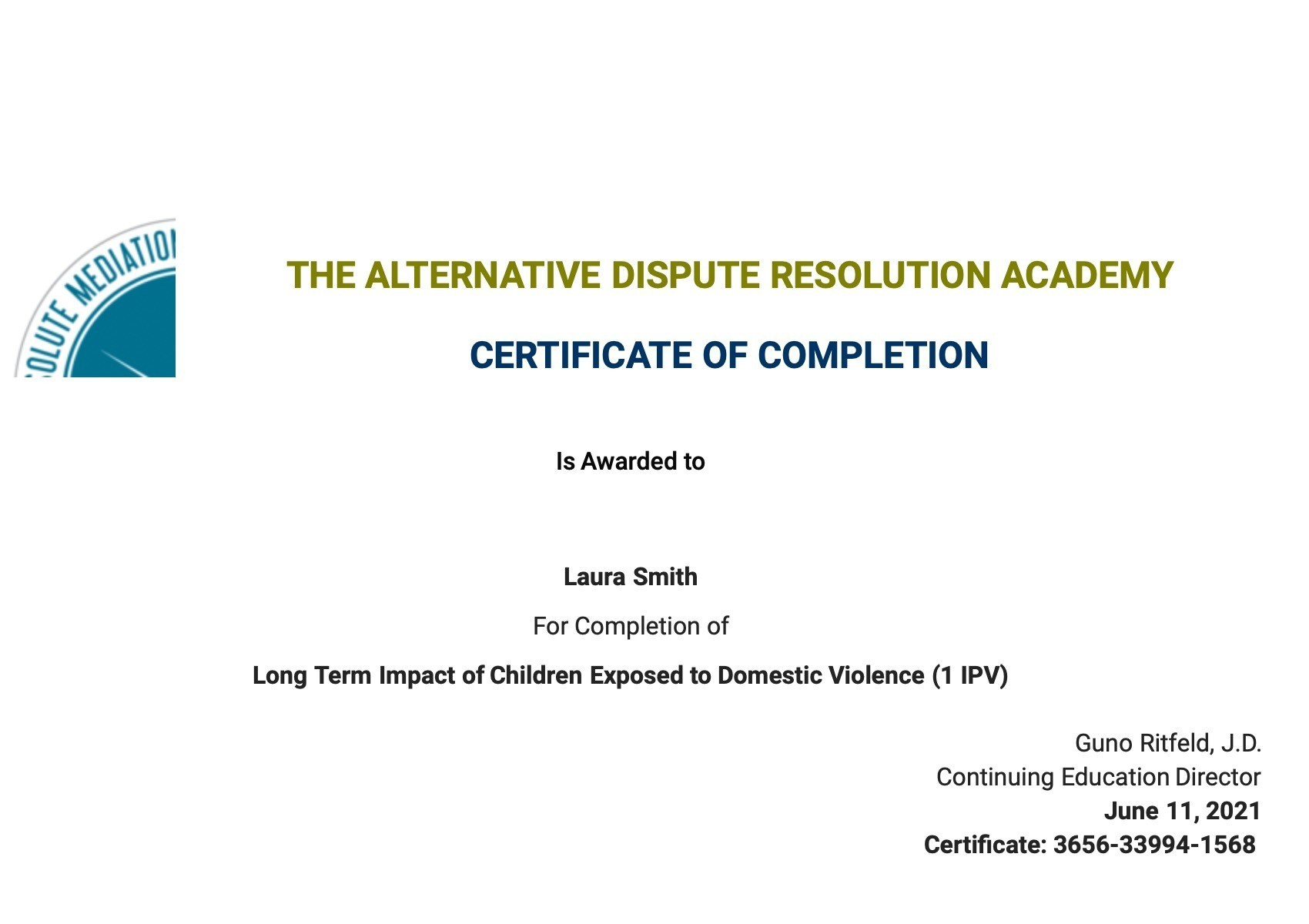 Certificate for User Laura Smith