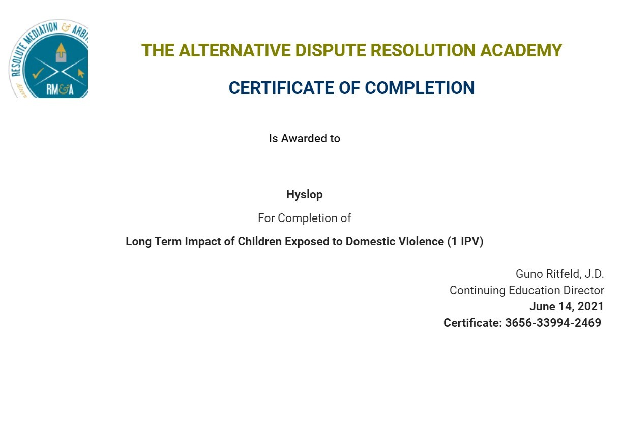 Certificate for User Hyslop