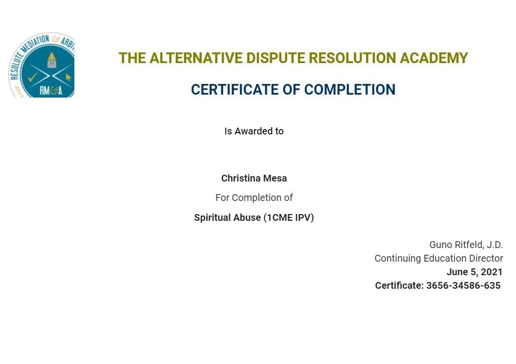 Certificate for User Christina Mesa