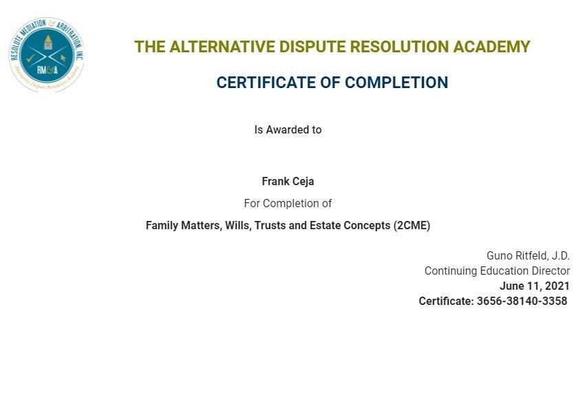 Certificate for User Frank Ceja
