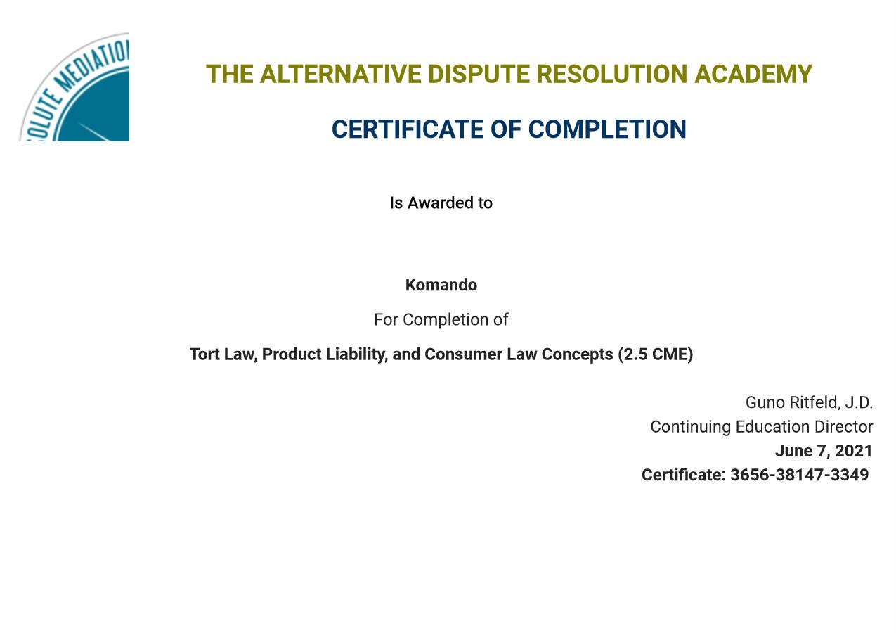 Certificate for User Komando