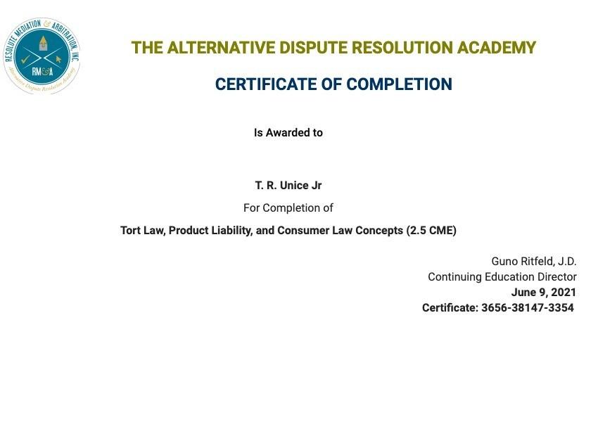 Certificate for User T. R. Unice Jr