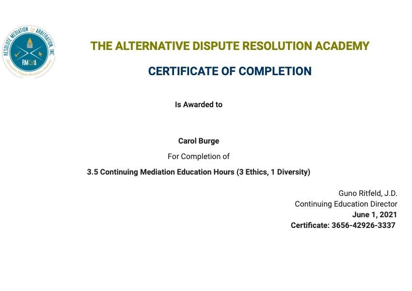 Certificate for User Carol Burge