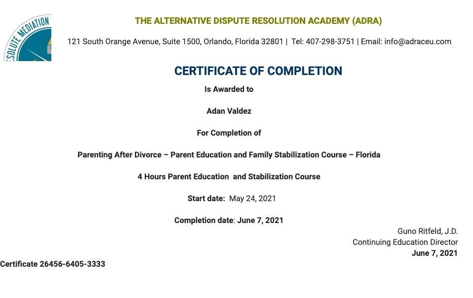 Certificate for User Adan Valdez
