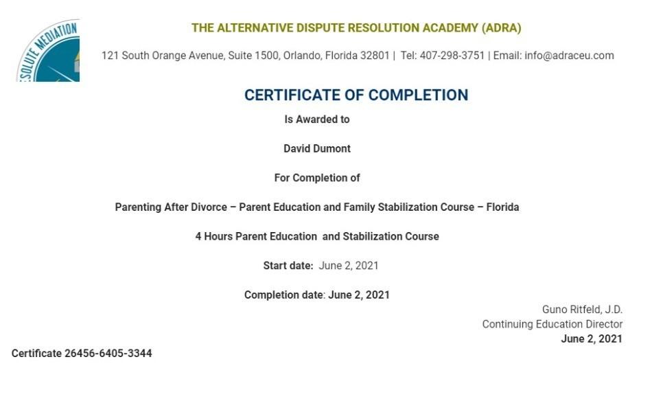 Certificate for User David Dumont