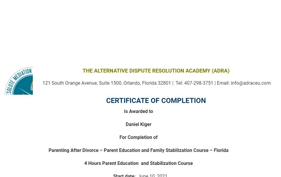 Certificate for User Daniel Kiger