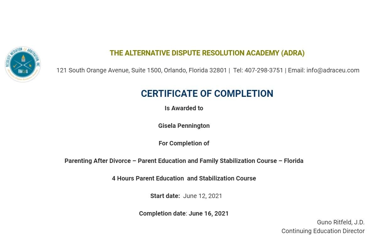 Certificate for User Gisela Pennington