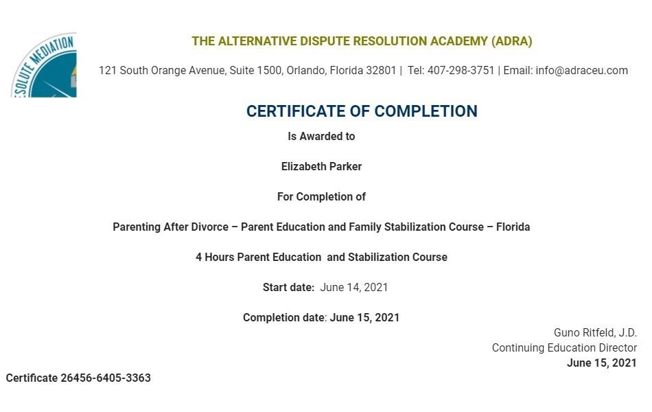 Certificate for User Elizabeth Parker