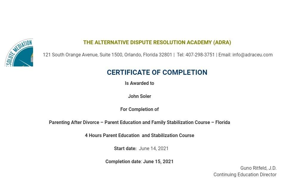 Certificate for User John Soler