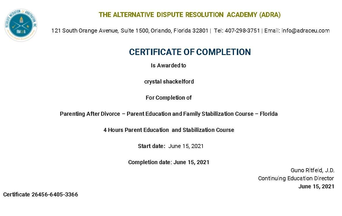 Certificate for User crystal shackelford