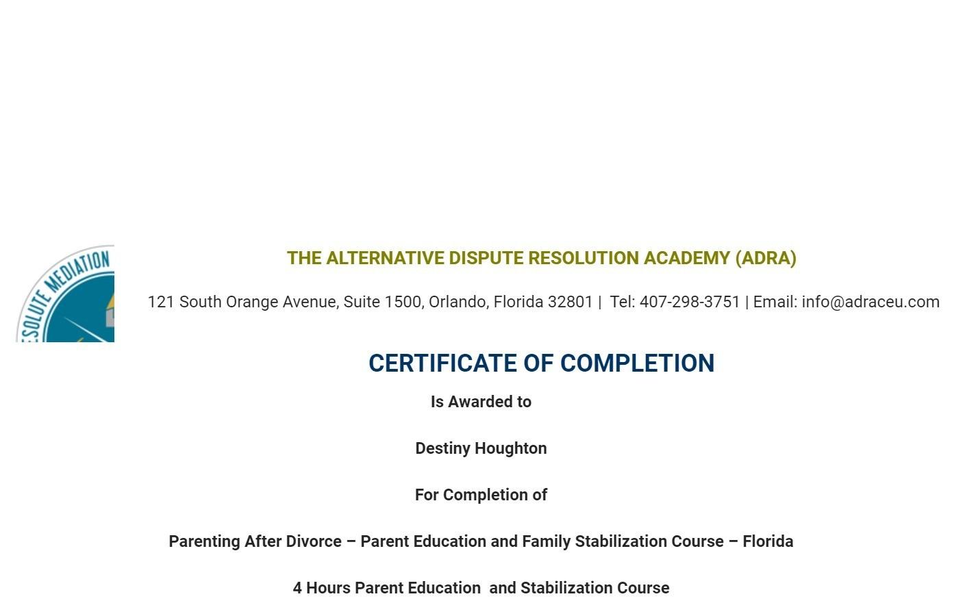 Certificate for User Destiny Houghton