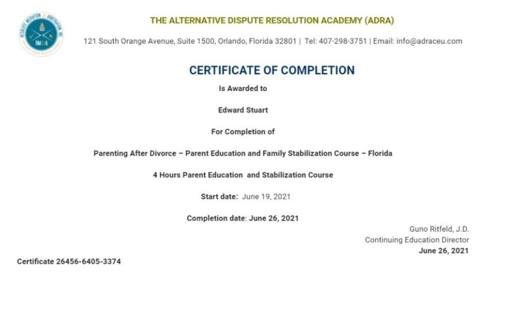 Certificate for User Edward Stuart