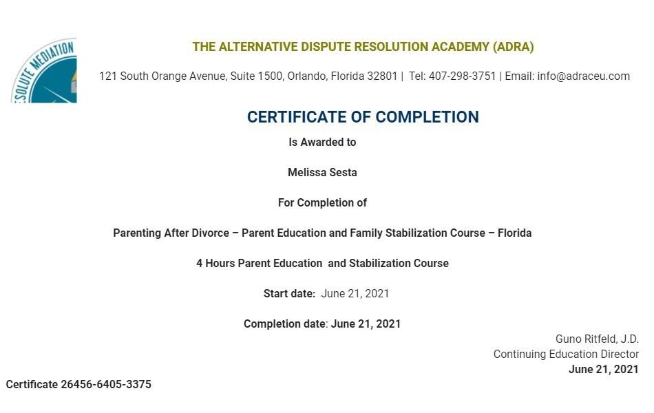 Certificate for User Melissa Sesta