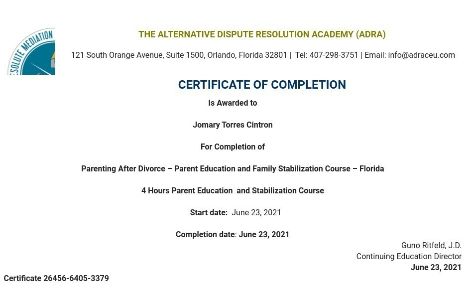 Certificate for User Jomary Torres Cintron