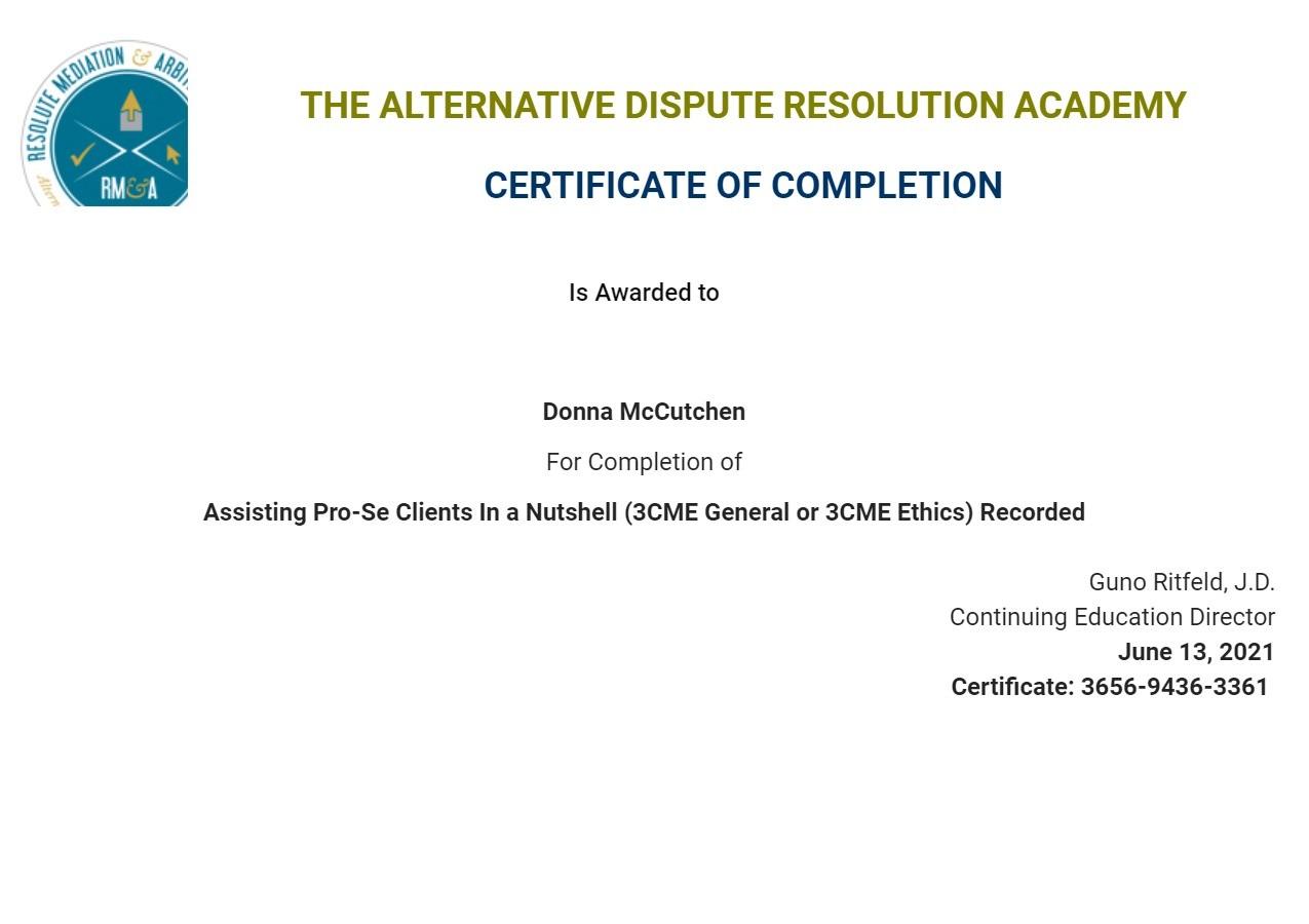 Certificate for User Donna McCutchen