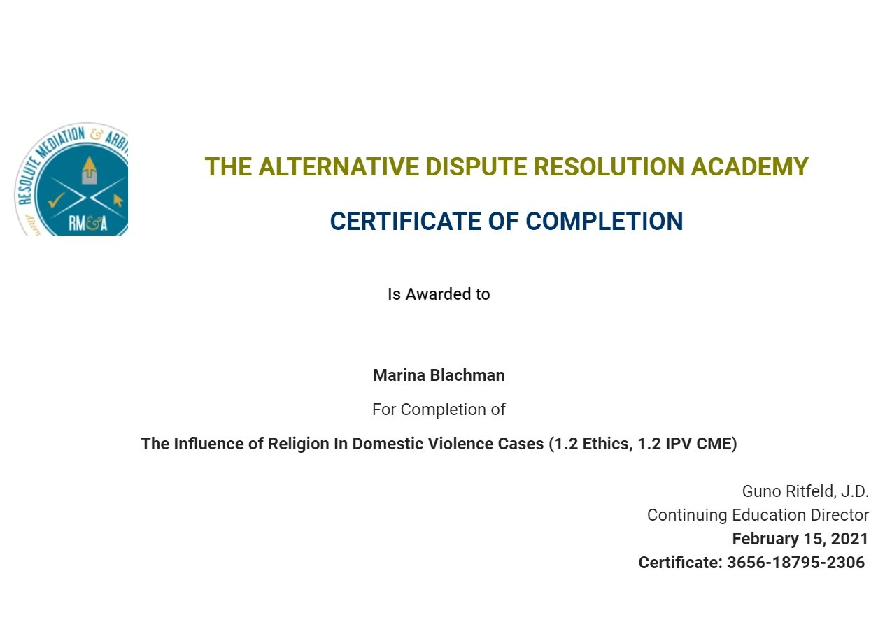 Certificate for User Marina Blachman