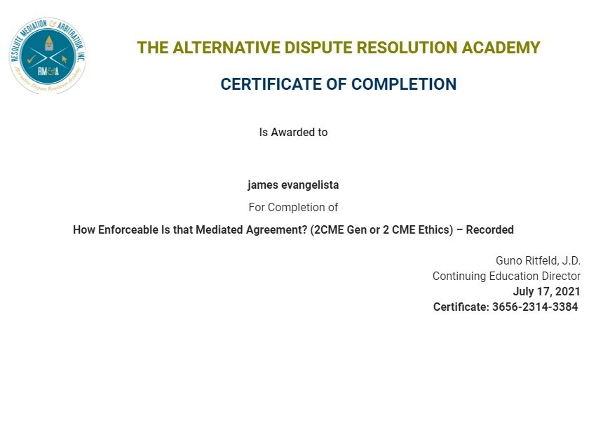 Certificate for User james evangelista