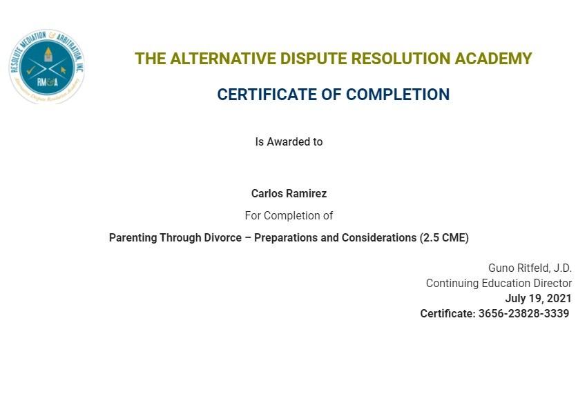Certificate for User Carlos Ramirez