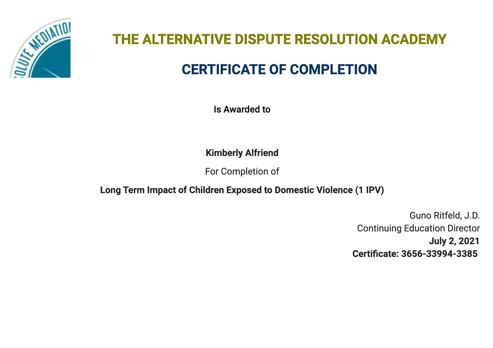 Certificate for User Kimberly Alfriend