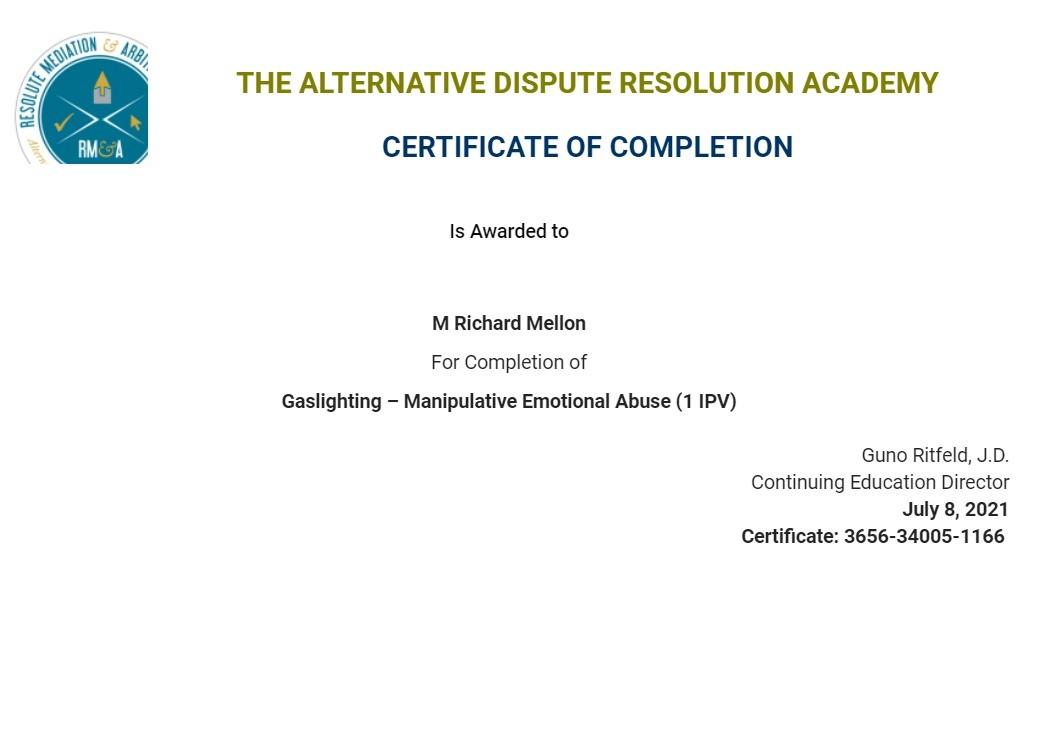 Certificate for User M Richard Mellon
